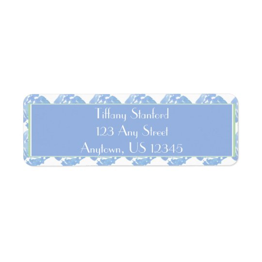 Blue Watercolor Floral   Personalised Return Address Label
