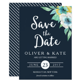 Blue Watercolor Floral Save the Date Card