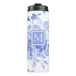 Blue Watercolor Floral | Thermal Tumblr Thermal Tumbler