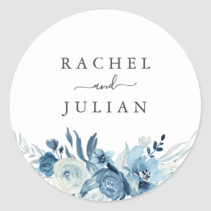 Blue watercolor floral wedding classic round sticker