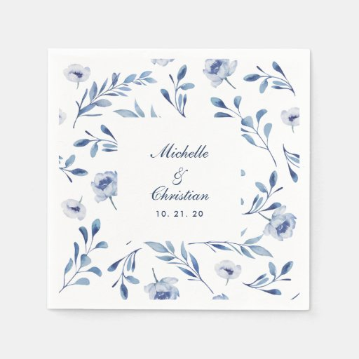 Blue Watercolor Floral Wedding Napkin Disposable Napkin