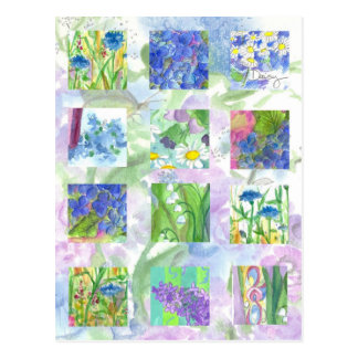 Blue Watercolor Flowers Collage Art Lilac Daisy Postcard
