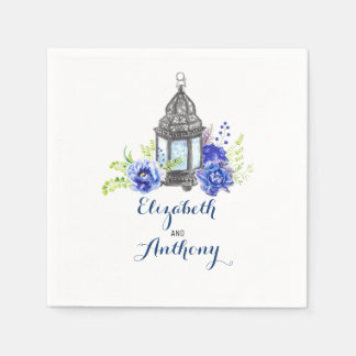 Blue Watercolor Flowers Disposable Serviette