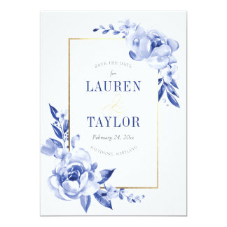 Blue Watercolor Flowers Save the Date 13 Cm X 18 Cm Invitation Card