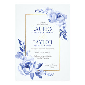Blue Watercolor Flowers Wedding Invitation