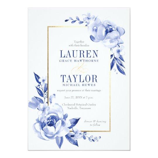Blue Watercolor Flowers Wedding Invitation