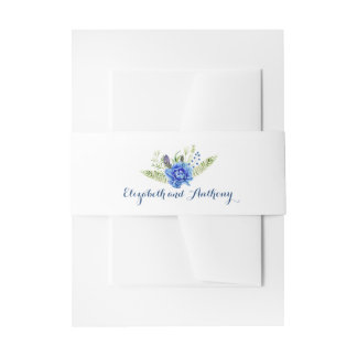 Blue Watercolor Flowers Wedding Invitation Belly Band