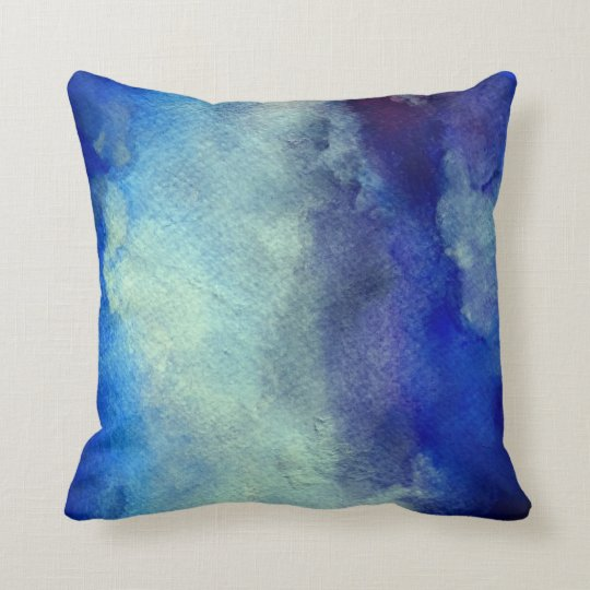 Blue Watercolor Fushion Throw Cushion