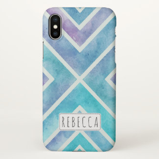 Blue watercolor geometric stripes personalized iPhone x case