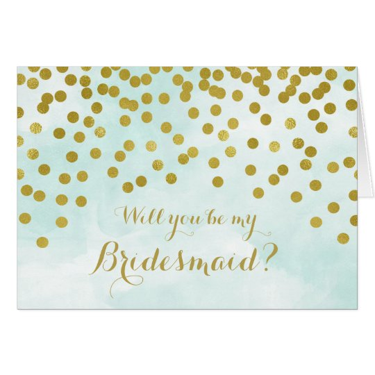 Blue Watercolor Gold Confetti Bridesmaid Invite