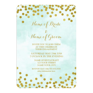 Blue Watercolor Gold Confetti Engagement Party Card