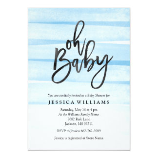 Blue Watercolor Gradient Oh Baby Shower Invitation
