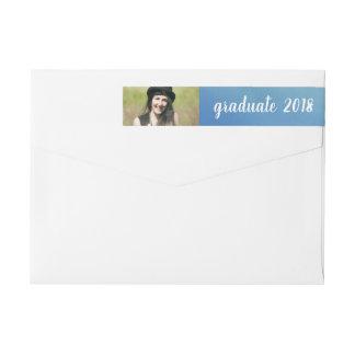 Blue Watercolor | Graduate 2018 | Photo Wrap Around Label
