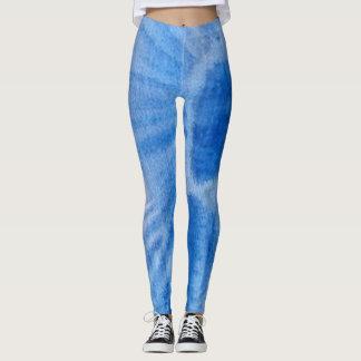 Blue Watercolor Heart Leggings