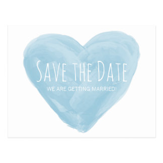 Blue Watercolor Heart Save the Date Postcard
