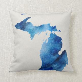 Blue Watercolor Michigan Silhouette | Customize It Cushion