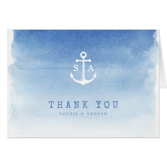 Blue watercolor nautical anchor monogram thank you card