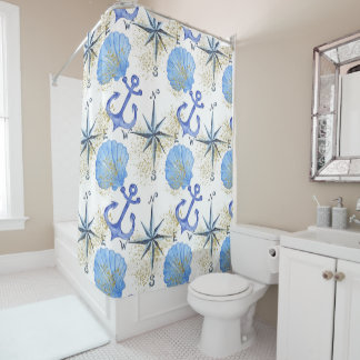 Blue watercolor nautical design with anch, beacht shower curtain