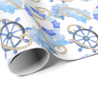 Blue watercolor nautical design with anchor, shell wrapping paper