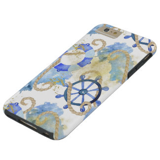 Blue watercolor nautical design with rope, beach tough iPhone 6 plus case