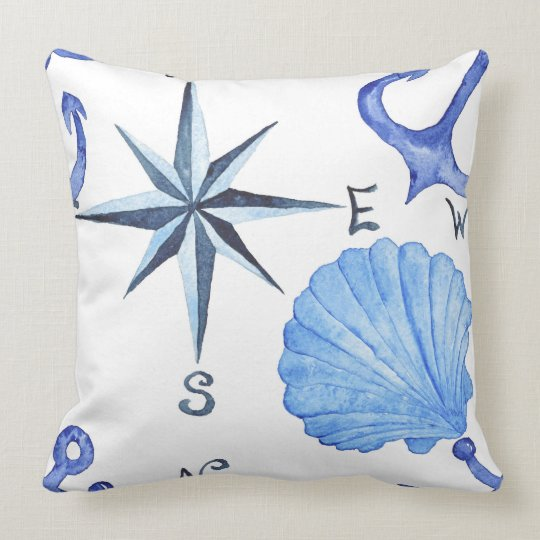 Blue watercolor nautical design with shell, anchor cushion