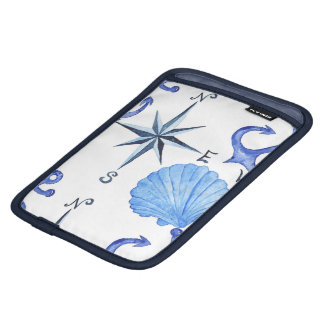 Blue watercolor nautical design with shell, anchor iPad mini sleeve