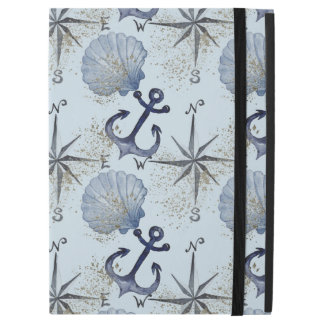 """Blue watercolor nautical design with shell, anchor iPad pro 12.9"""" case"""