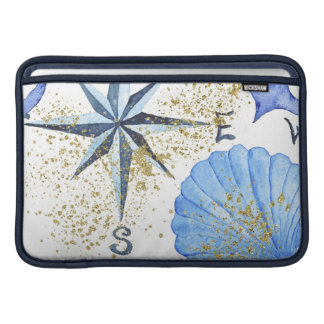 Blue watercolor nautical design with shell, anchor MacBook sleeve