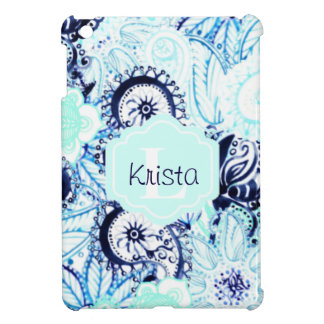 Blue Watercolor Paisley Print w/Full Name Monogram Cover For The iPad Mini