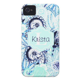 Blue Watercolor Paisley Print w/Full Name Monogram iPhone 4 Cover