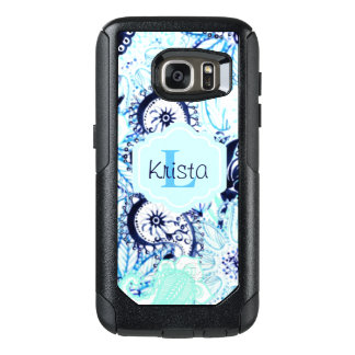 Blue Watercolor Paisley Print w/Full Name Monogram OtterBox Samsung Galaxy S7 Case
