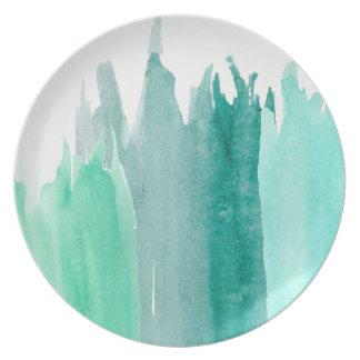 Blue watercolor plates