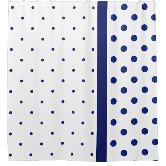 Blue Watercolor Polka Dot Modern Shower Curtain