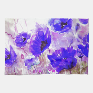Blue Watercolor Poppies. Tea Towel