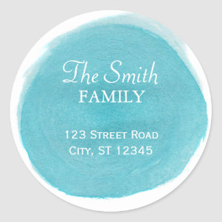 Blue Watercolor Return Address Round Sticker
