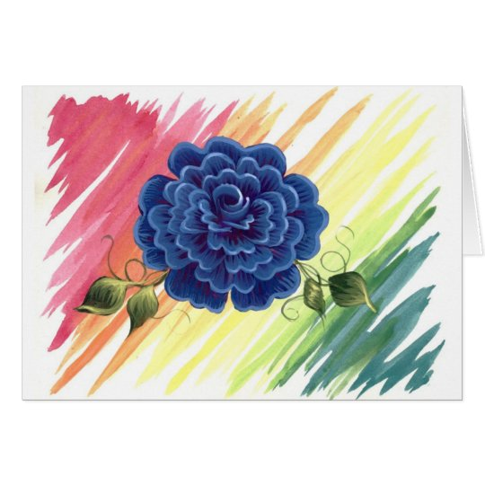 Blue Watercolor Rose Card