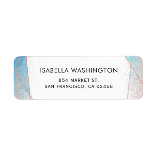Blue Watercolor & Rose Gold Geometric Wedding Return Address Label
