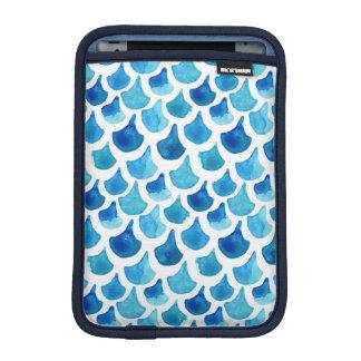 Blue Watercolor Scale Pattern iPad Mini Sleeve