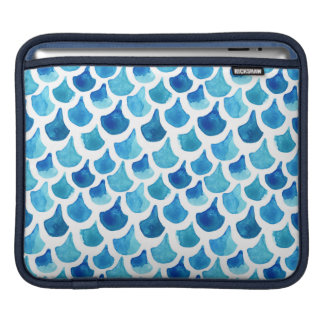 Blue Watercolor Scale Pattern iPad Sleeve
