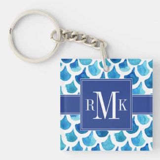 Blue Watercolor Scale Pattern Key Ring