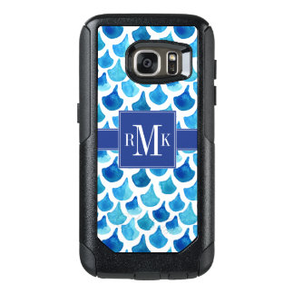 Blue Watercolor Scale Pattern OtterBox Samsung Galaxy S7 Case