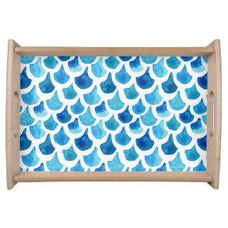 Blue Watercolor Scale Pattern Serving Tray