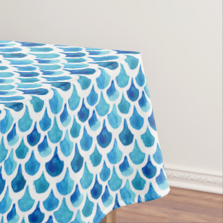 Blue Watercolor Scale Pattern Tablecloth