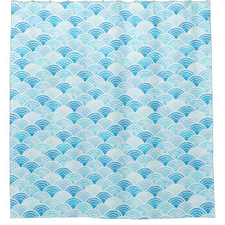 Blue Watercolor Seigaiha Waves Pattern Shower Curtain