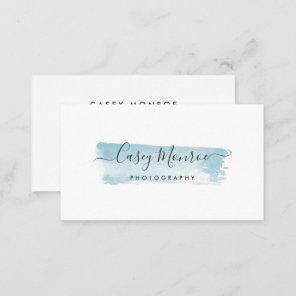 Blue Watercolor Signature Script Business Card