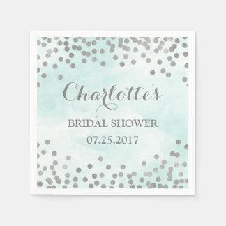 Blue Watercolor Silver Confetti Bridal Shower Paper Napkin
