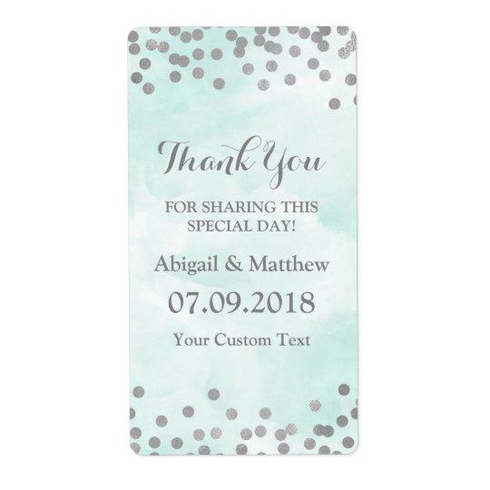 Blue Watercolor Silver Confetti Wedding Labels