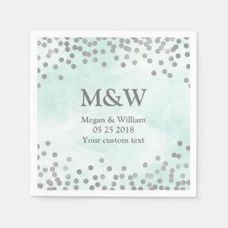 Blue Watercolor Silver Confetti Wedding Napkin Paper Napkins