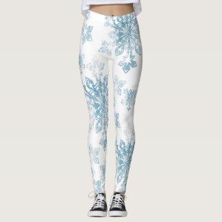 Blue Watercolor Snowflakes Leggings