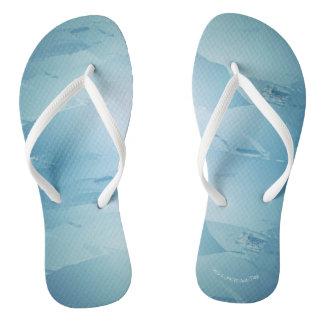 Blue Watercolor Spa Flip Flops